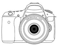 Photo camera. Outline view isolated Stock Photos