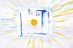 Photo camera painted with watercolor, sketchbook at white background. Flat lay, top view . royalty free stock photography