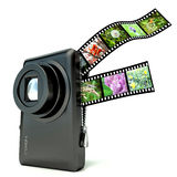 Photo camera with photos Royalty Free Stock Images