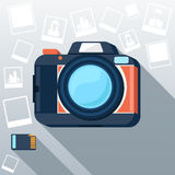 Photo camera with pictures Royalty Free Stock Photo