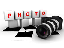 Photo camera with polaroid frames. Illustration of photo camera with polaroid frames Royalty Free Stock Image