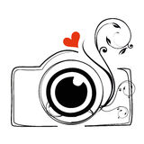 Photo camera poster or emblem logo. With a black and white stylized doodle sketch of a digital camera with the word - Photo - below Stock Photos