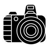 Photo camera pro icon, vector illustration, black sign on isolated background Royalty Free Stock Image