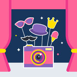 Photo Camera with Props and Booth Curtains royalty free illustration