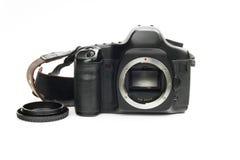 Photo camera reflex showing its sensor on white isolated backgro Royalty Free Stock Photo