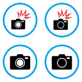 Photo Camera Rounded Vector Icons. Photo Camera rounded icons. Vector illustration style is a flat iconic symbols inside blue circles. Designed for web and Stock Photo