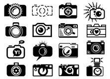 Photo camera set icons. Photo camera icons set. Black and white camera silhouettes for photographer logo Royalty Free Stock Image