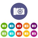 Photo camera set icons. In different colors isolated on white background Royalty Free Stock Photography