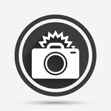 Photo camera sign icon. Photo flash symbol. Stock Photo
