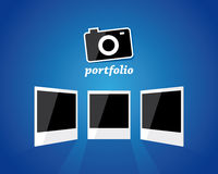 Photo camera and three photo frames Stock Photos
