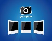Photo camera and three photo frames Stock Photos
