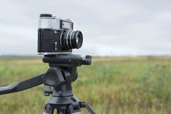 Photo Camera On Tripod Stock Photography