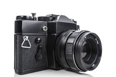 Photo camera. Vintage photo camera isolated on white Royalty Free Stock Images