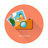 Photo camera web icon flat design, vector image. Stock Photo