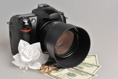Photo camera, wedding boutonniere, rings with money on gray Royalty Free Stock Images