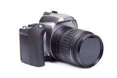 Photo camera on white Royalty Free Stock Images