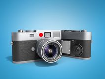 Photo cameras 3d render on blue. Photo cameras 3d render on Royalty Free Stock Photography
