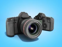 Photo cameras 3d render on blue. Photo cameras 3d render on Stock Photos