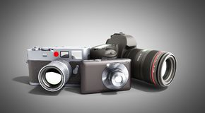 Photo cameras of different classes 3d render on grey. Photo cameras of different classes 3d render on Stock Photos