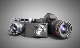 Photo cameras of different classes 3d render on grey. Photo cameras of different classes 3d render Royalty Free Stock Photos