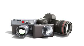 Photo cameras of different classes 3d render on white. Photo cameras of different classes 3d render on Royalty Free Stock Photo