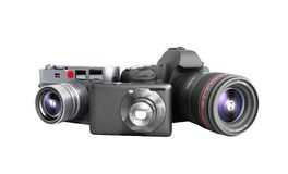 Photo cameras of different classes 3d render on white no shadow. Photo cameras of different classes 3d render on white no Stock Images