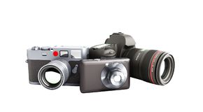 Photo cameras of different classes 3d render on white no shadow. Photo cameras of different classes 3d render on white Stock Photos