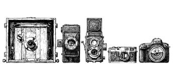 Photo cameras evolution set. Vector hand drawn sketch of photo cameras evolution set in ink hand drawn style. Inscription PHOTO is made as a separate object Stock Images