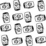 Photo cameras, hand drawing Seamless pattern Royalty Free Stock Photo