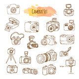 Photo Cameras Hand Drawn Illustrations. Vector Video Camera Design. Royalty Free Stock Image