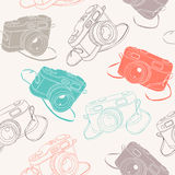 Photo cameras seamless pattern Royalty Free Stock Photos