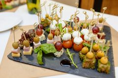 Photo of canape on the tray Royalty Free Stock Images
