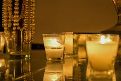 Candles in romantic setting royalty free stock images