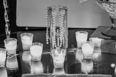 Candles and pearls stock photos