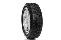 Photo of a car tyre (tire) isolated royalty free stock images