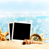 Photo card on sand beach. Stock Image