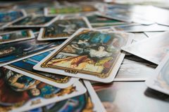 Photo of tarot card. Photo cards for fortune telling or playing. Tarot cards made in the style of the city of St. Petersburg Stock Images
