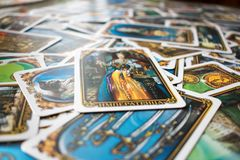 Photo of tarot card. Photo cards for fortune telling or playing. Tarot cards made in the style of the city of St. Petersburg Royalty Free Stock Photos