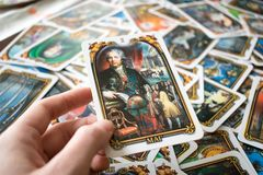 Photo of tarot card. Photo cards for fortune telling or playing. Tarot cards made in the style of the city of St. Petersburg Stock Photo