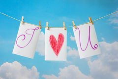 Photo cards hanging on the clothesline Royalty Free Stock Images
