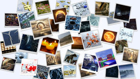 Photo cards image wall. 3D rendering stock illustration
