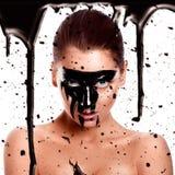 Photo carrée de femme sexy avec la peinture sur le visage Photo libre de droits