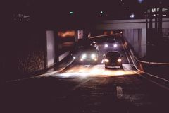 Photo of Cars in Tunnel during Nightime Stock Photos