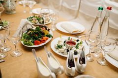 Photo of cheese platter and salad on the table. Cheese platter and salad on the table Royalty Free Stock Photo
