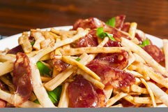Sausage and bamboo shoots. The  photo  is  chinese  food-Sausage and bamboo shoots Stock Photo