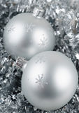Photo of Christmas balls. Over silver background stock photo