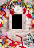 Photo of christmas little house with empty window and decoration. Photo of christmas little house with empty window and decoration stock image