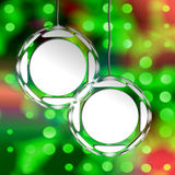 Photo Christmas Ornaments. Empty Christmas Ornaments Templates Ready For Your Images, Pictures Or Text. Holiday Lights Bokeh Background Of Green And Red Royalty Free Stock Images