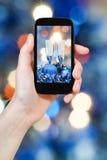 Photo Christmas still life on blue background Royalty Free Stock Photography