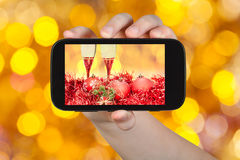 Photo Christmas still life on brown background Royalty Free Stock Photos